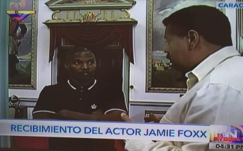 Maduro recibe a actores Jamie Foxx y Lukas Haas en Miraflores