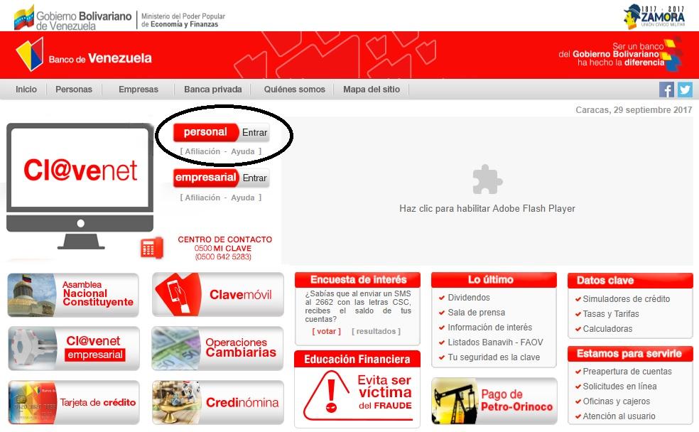 portal web del banco de venezuela presenta fallas que