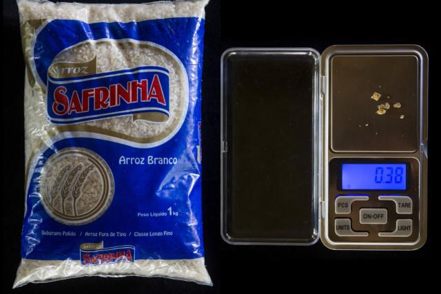Un kilogramo de arroz: 0,38 gramos.