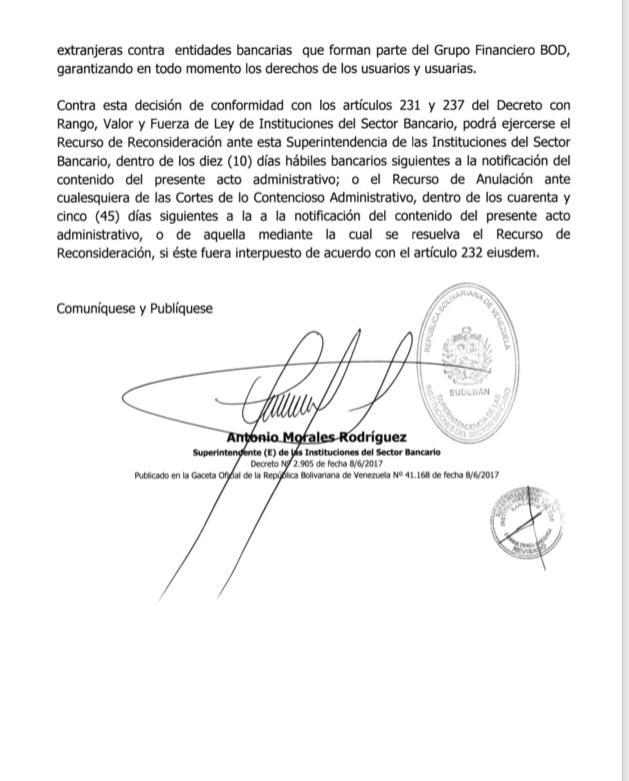 BOD: Resolución de Sudeban no afecta operaciones del banco