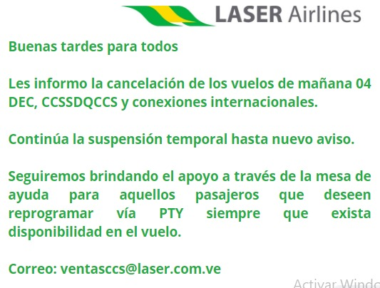 Vuelos de Laser estarán suspendidos hasta nuevo aviso