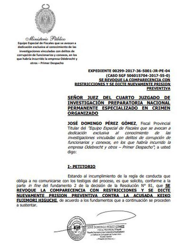 Fiscal peruano pide que